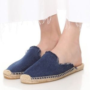 SOLUDOS Frayed Denim Mule Espadrille Slip On Clog